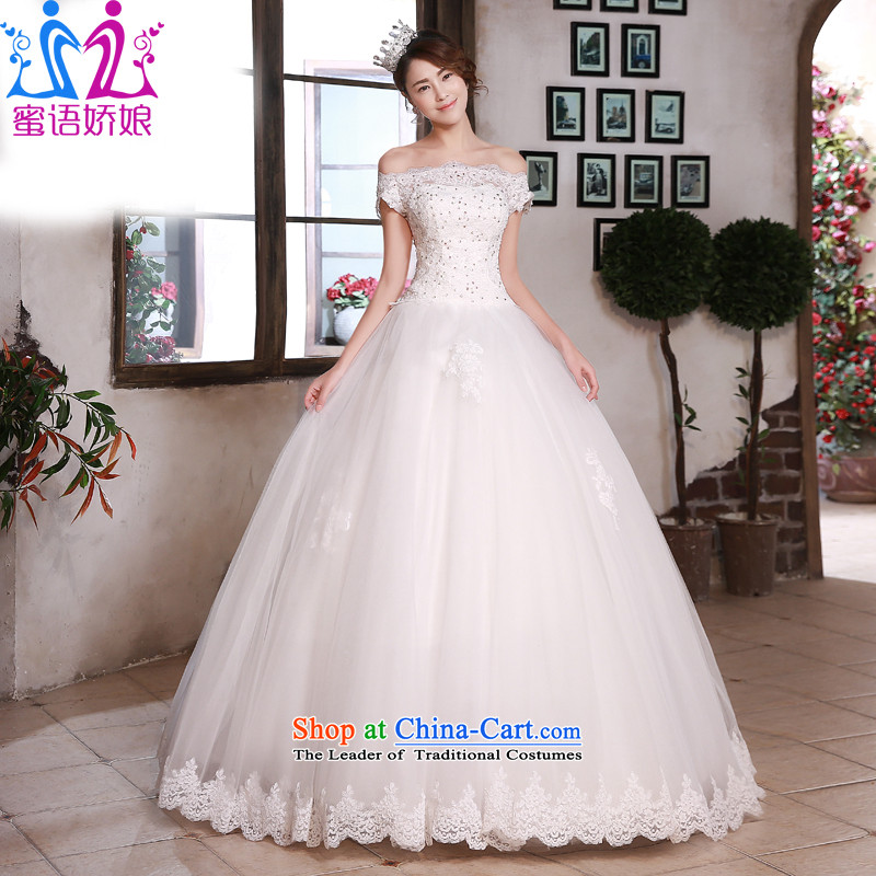 Talk to Her Wedding Dress Korean Style New Word 2015 led to align the shoulder lace elegant reminiscent of the large number of Sau San video thin white wedding聽S
