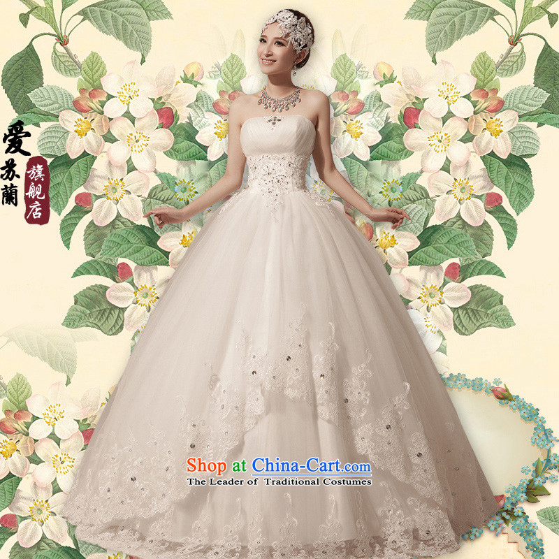 The new 2015 wedding dresses double lace car unit lace anointed chest Korean skirt wedding canopy of Princess skirt wedding wedding dress White燲L