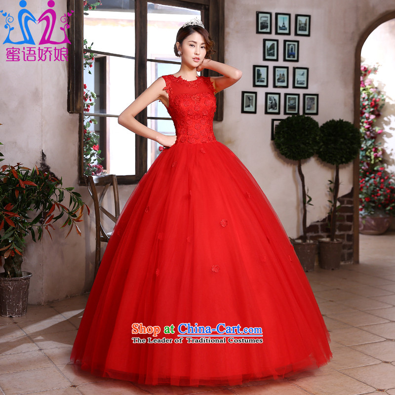 Talk to her�new 2015 Red wedding marriages bows services align with lace Korean style graphics large thin red dress marriage tailored