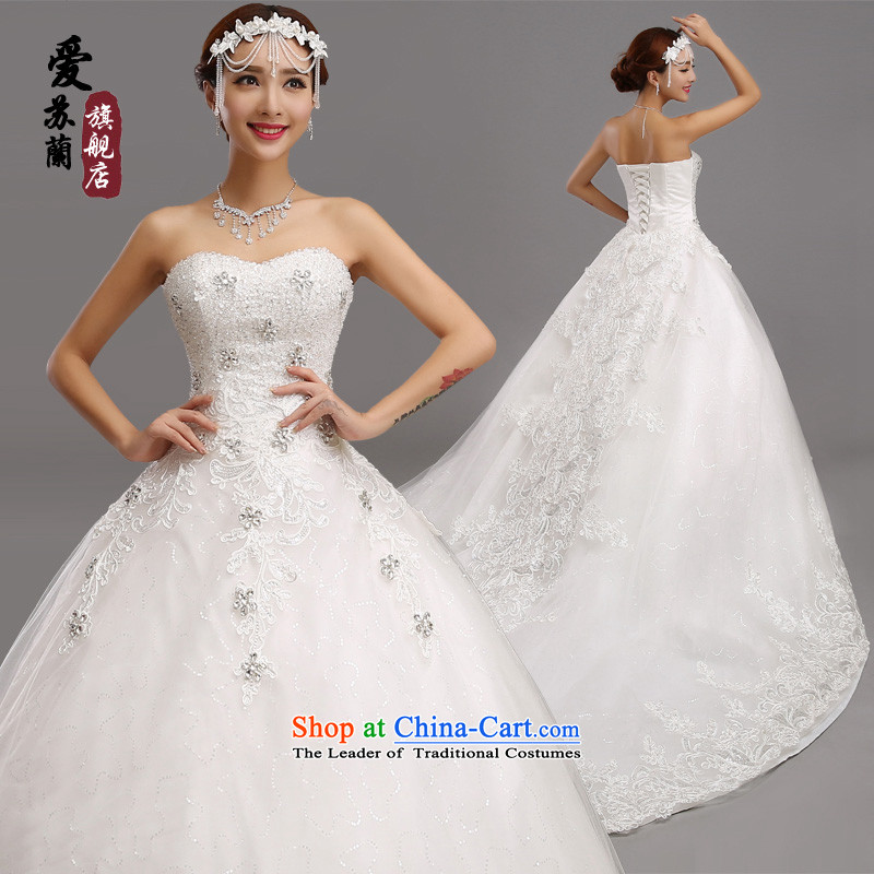 The new foreign trade up wedding gown, SUPER FANTASY large tail wedding gown, bridal wedding photography wedding tail Sau San video lace thin long trailing white streak wedding made size do not return Not Switch
