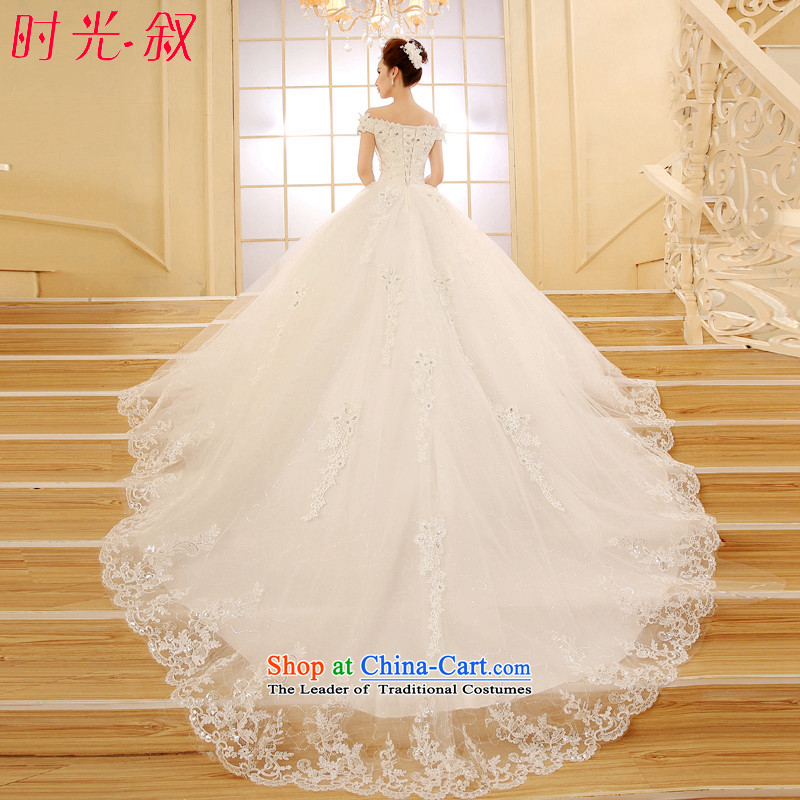 Time Syrian tail wedding dresses, Korea stylish new Word 2015 spring and fall shoulder graphics thin large bride over a long period of wedding dress wedding winter?1.2 m tail?M