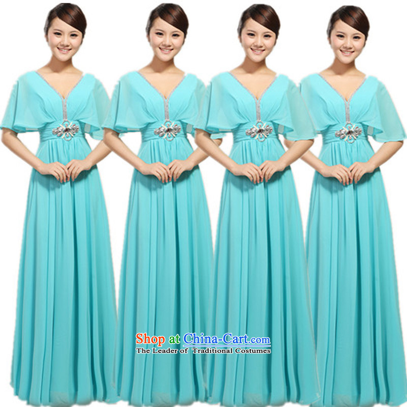 Elegant chiffon V-Neck Top Loin of nail drill length of large choral conductor services will serve choral Stage Costume skyblue S