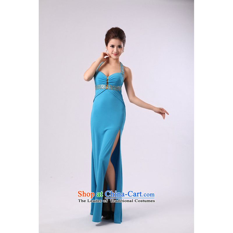 Elegant Hang On-chip beads nail also long drink service banquet dinner dress blue聽XS