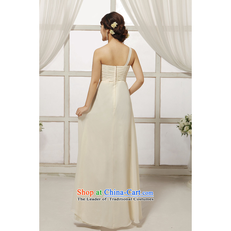 Charlene Choi spirit of new (yanling) fashionable dress long single shoulder strap bride wedding dresses bows services under the auspices of dress beige�L