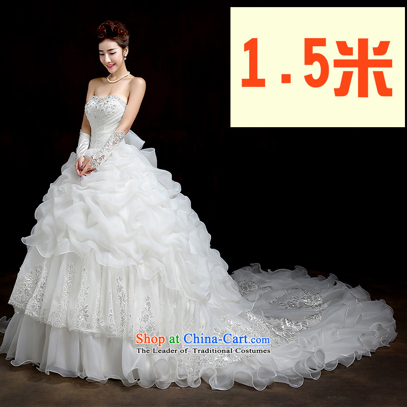 Su Xiang Edge?2015 new anointed chest Korean tail wedding marriages to align graphics thin stylish integrated with large white wedding 1.5 m tail?XL