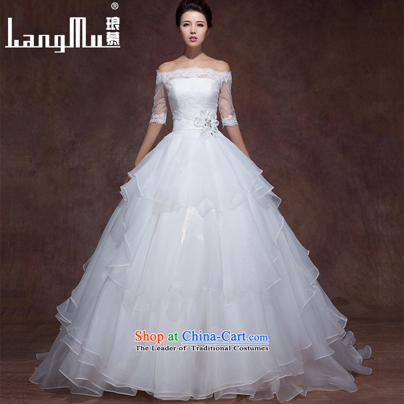 The new 2015 Luang wedding dress the word elegant minimalist and shoulder a chest strap tail Sau San video thin wedding custom wiping the Chest Gama CPI_A__ custom sizes