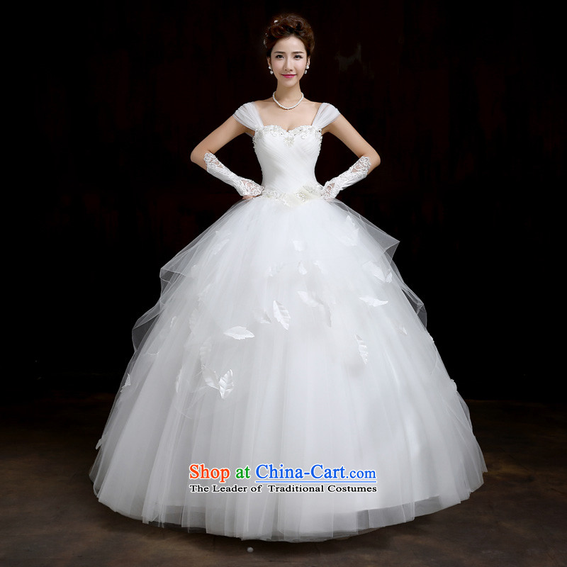 Su Xiang Edge聽2015 new one third of the word through video thin married women shoulder wedding dresses to align bon bon skirt white manually wedding white聽L