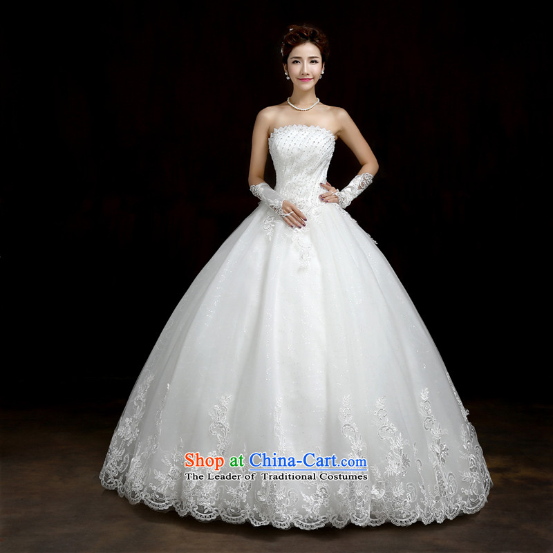 Su Xiang Edge聽2015 new alignment with chest marriages white video thin wedding dresses Korean skirt bon bon princess female white聽M