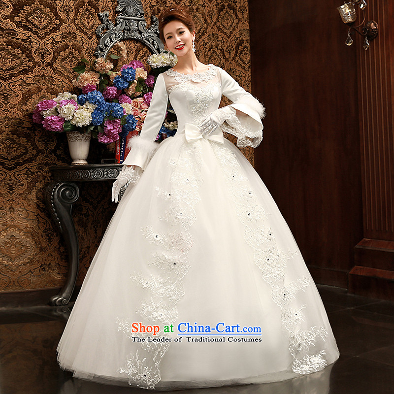Su Xiang Edge聽2015 new long-sleeved lace video thin marriage wedding long-sleeved straps romantic bride bon bon skirt wedding dress white聽S