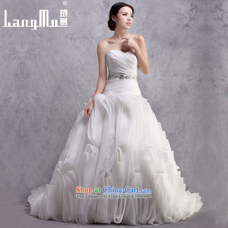 The new 2015 Luang anointed chest wedding dresses?vera Wang style tail flowers wedding customised Weiwei) m White?L