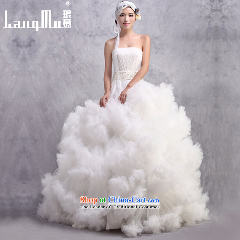 The�new 2015 Luang anointed chest wedding dresses luxurious large tail dance of the cloud flowers customised m White Advanced Customization