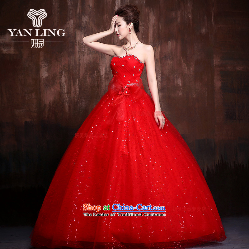 The Korean version of the new 2015 Korean stars with sweet flowers marriages wedding dresses�J0013�RED�XL