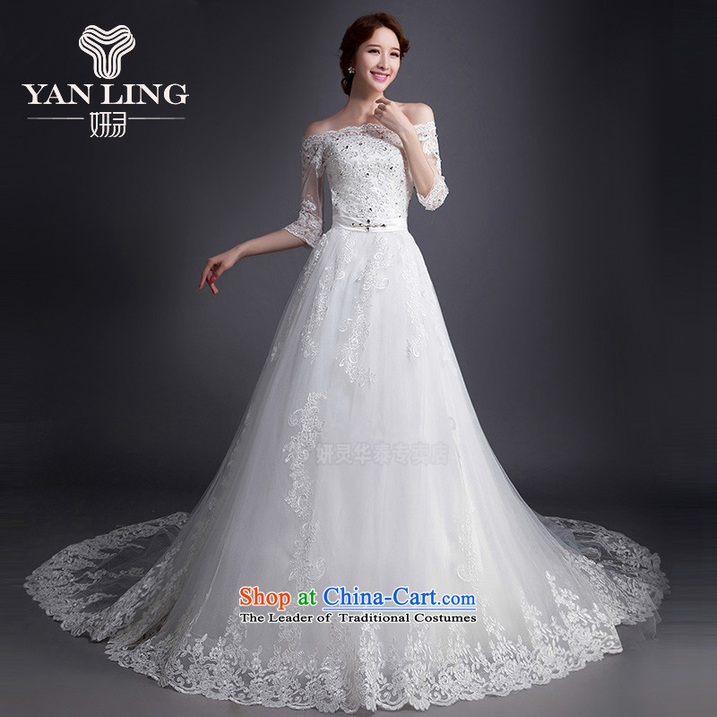 The Korean version of the 2015 new high-fashion waist bride tail wedding V-neck and chest straps dress WD0009 white?L