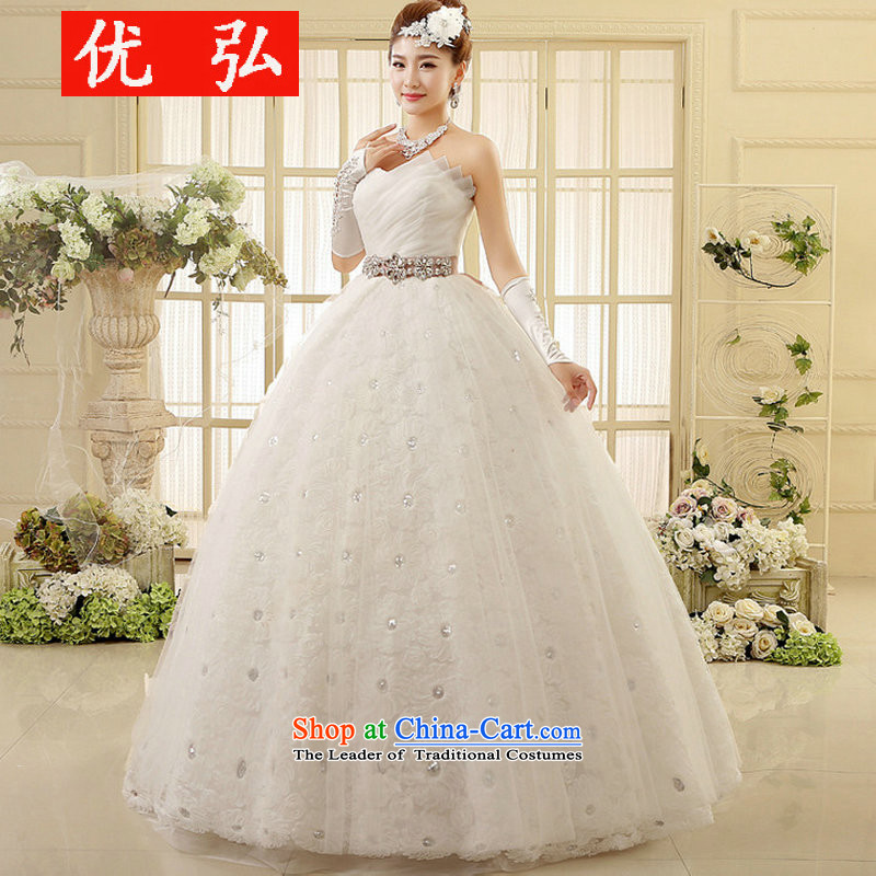 The 2014 Winter stylish Korean brides wiping the chest to align the wedding large fat mm thin winter) XS6002 video white�L
