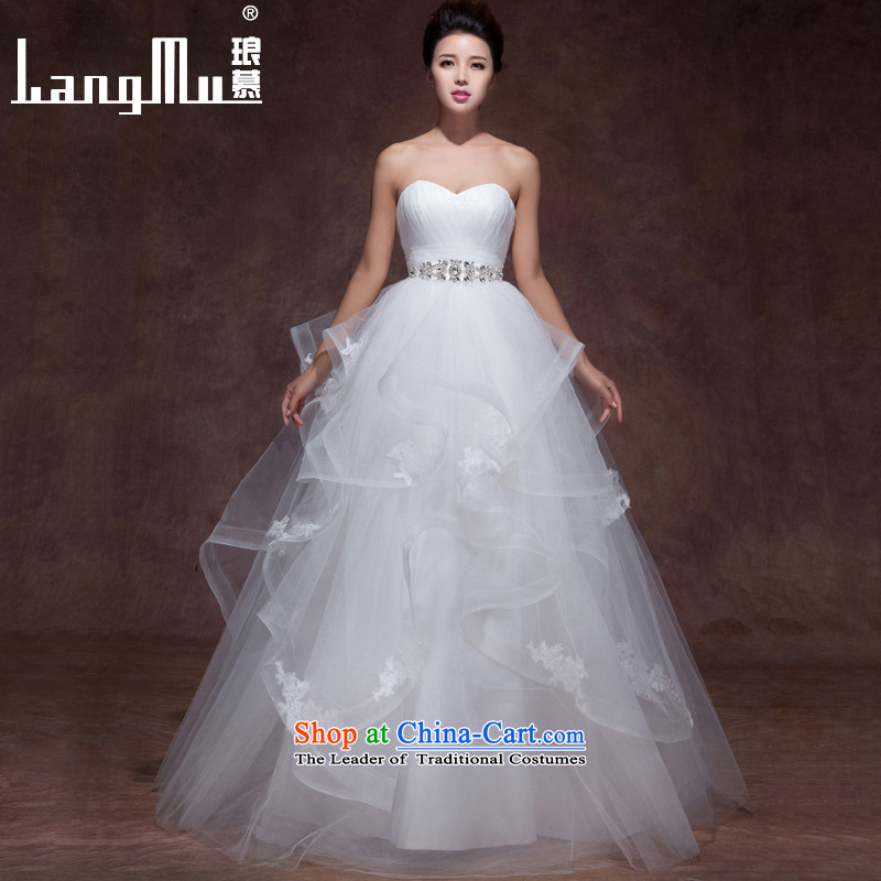 The new 2015 Luang slotted shoulders minimalist elegance wedding dresses lace of drilling straps to align the wedding popular anointed chest, advanced customization