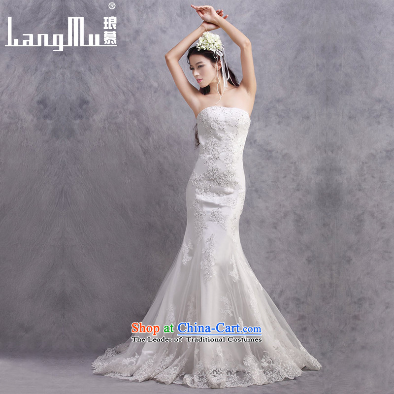The new 2015 Luang wedding dresses Korean word   shoulder Stylish retro sexy palace bride tail wedding m White Advanced Customization