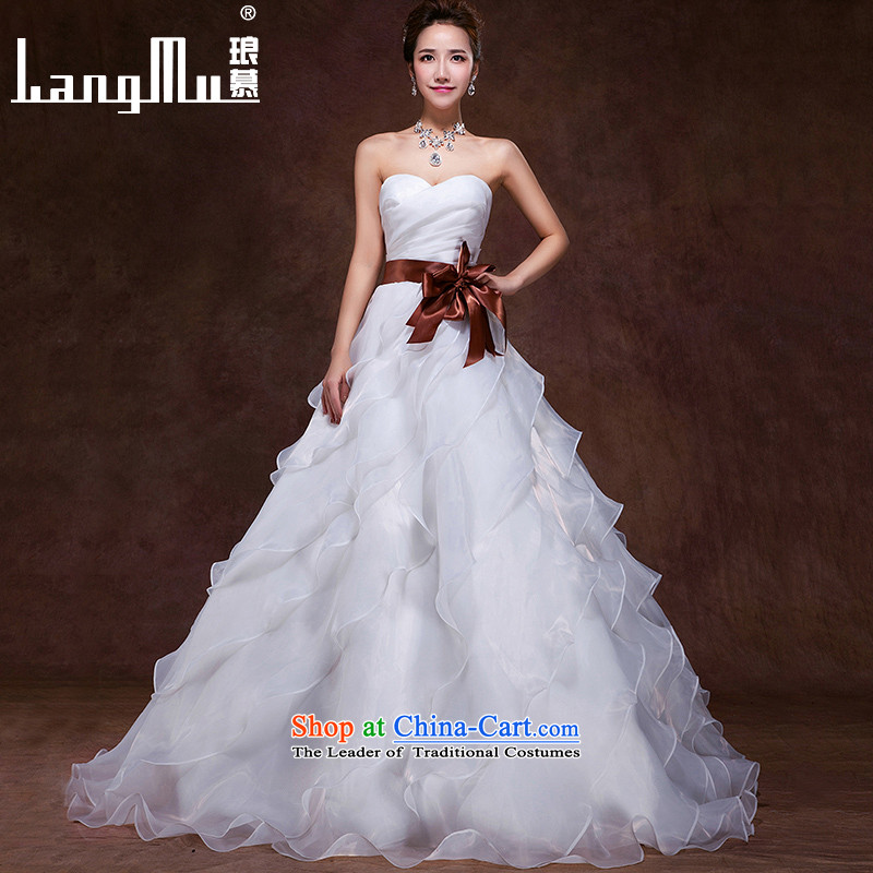 The 2015 autumn and winter Luang new wedding dresses Korean sweet words to align the Princess Bride chest cascading straps, m White L