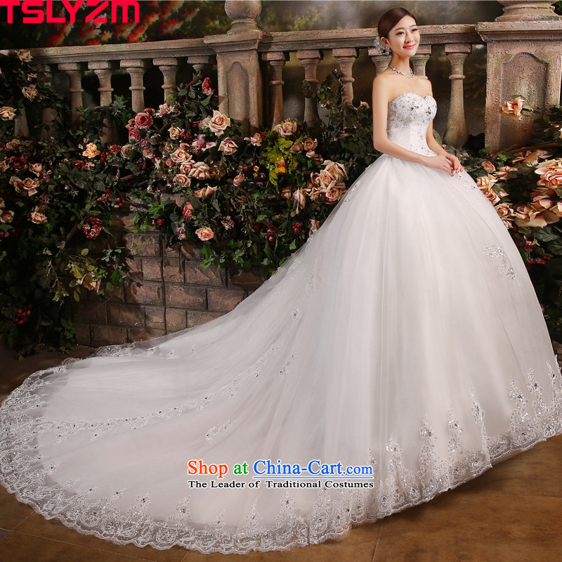The Bride With chest tslyzm tail wedding dress new Fall 2015 Summer parquet water drill length Dragging video thin wedding dress Sau San聽120cm tail white聽L