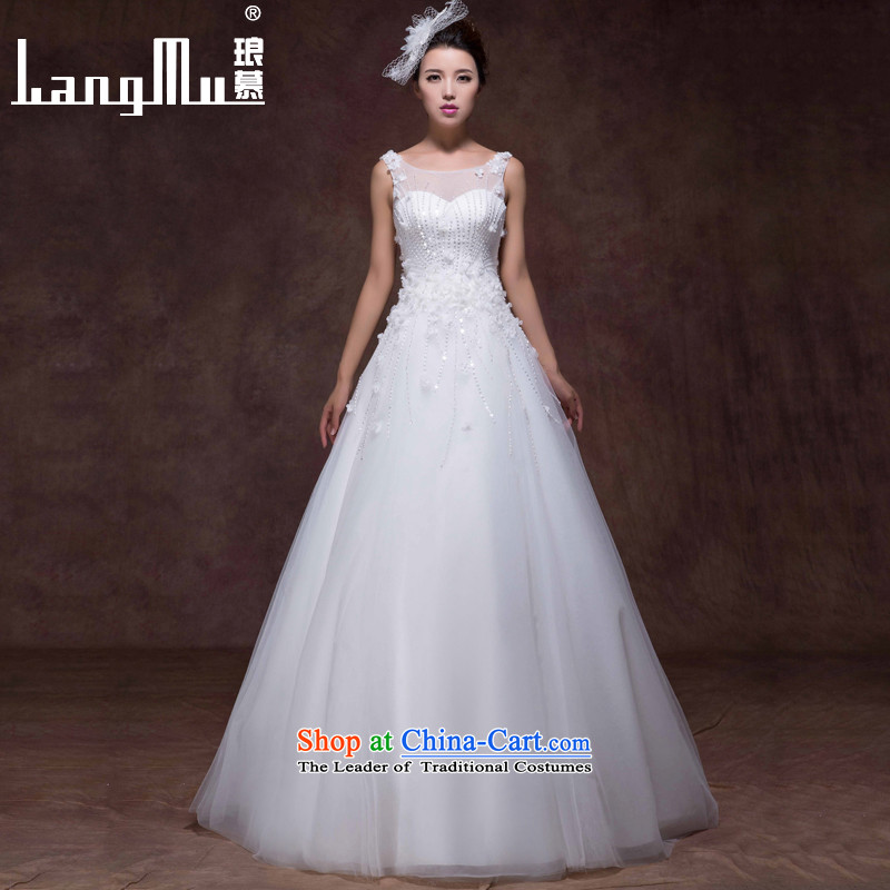 The new 2015 Luang wedding dresses Korean shoulders with Sau San lace flowers to align the bride wedding custom m White Advanced Customization