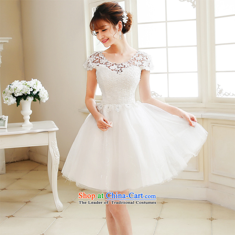 Time Service Bridal Autumn Syria followed by 2015 new bridesmaid to lace wedding dress short of the betrothal small dress dresses Sau San female banquet White XXL