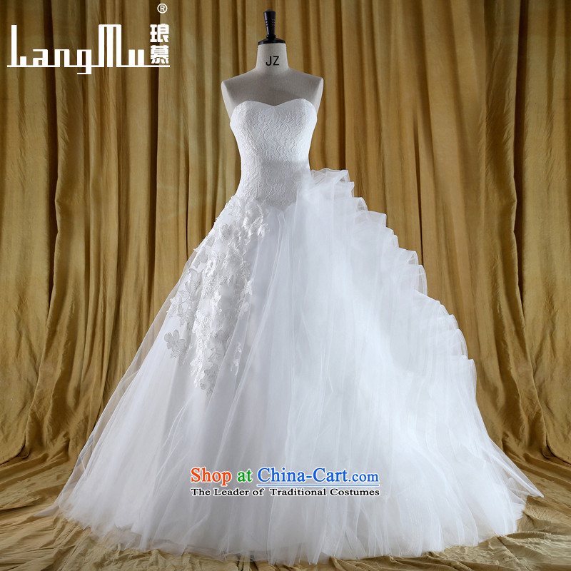 The new 2015 Luang�vera Wang new design cascading lace anointed chest stack trailing wang weiwei wedding dress�S m White
