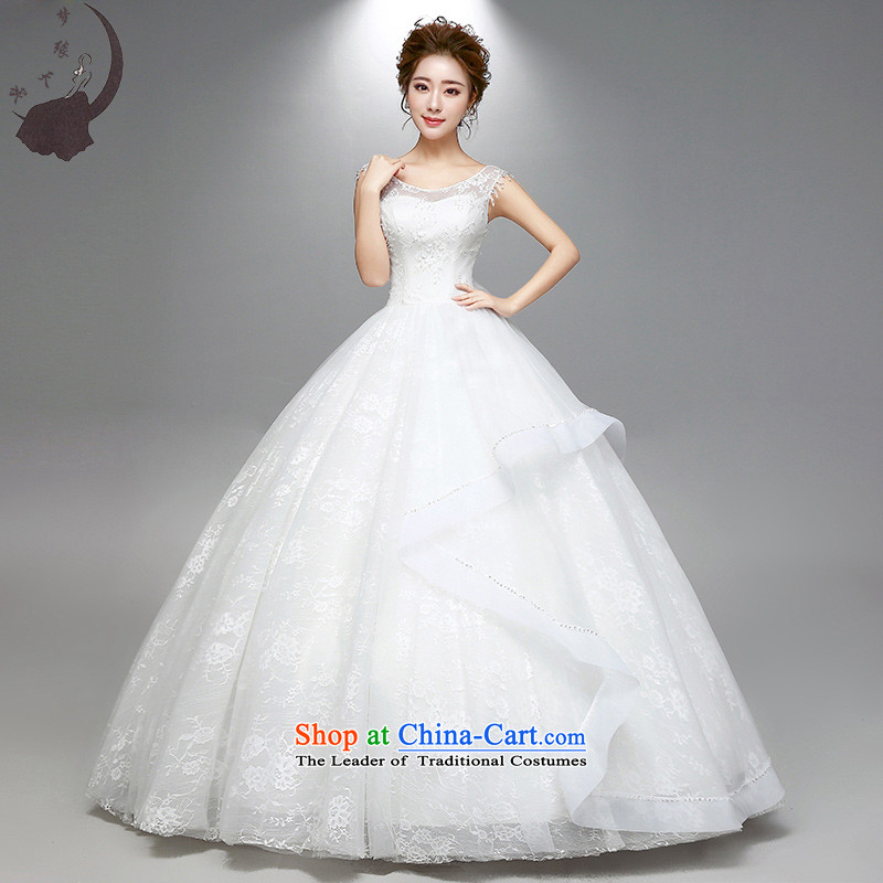 The leading edge of the wedding dresses Day 2015 autumn and winter new shoulders a shoulder lace wedding dress 1776 White S
