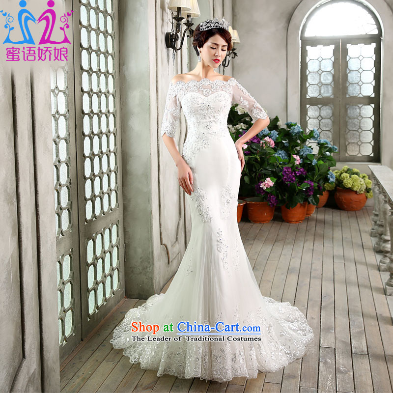 Talk to Her Wedding tail 2015 new crowsfoot wedding word for elegant Korean shoulder in the stylish large cuff wedding White�M