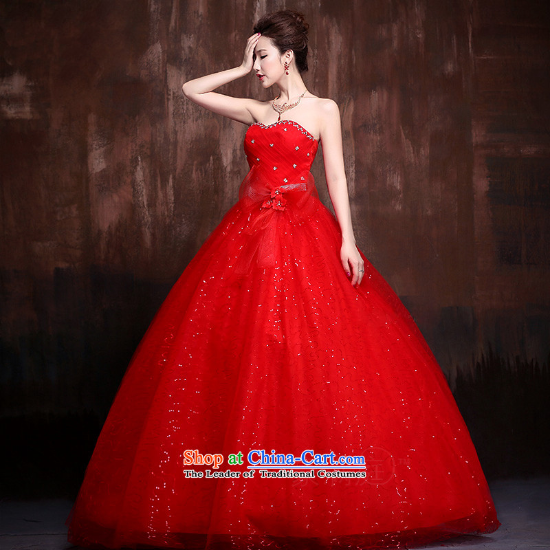 The 2015 New lace flash drill to align the shoulder strap Fung skirt The Princess Bride marriage wedding dresses J0014 RED�L