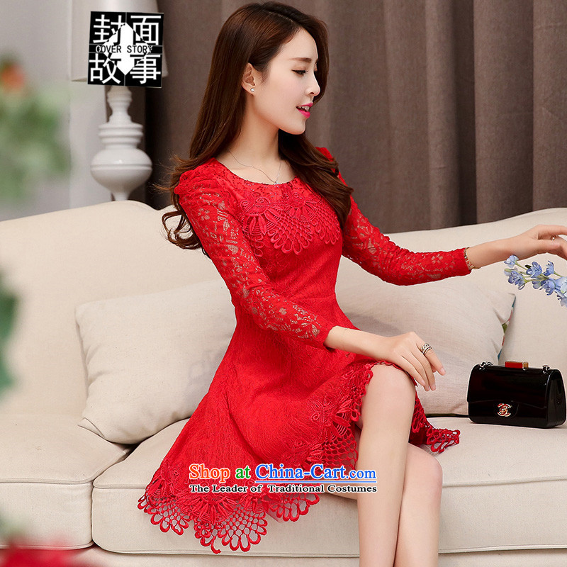 Cover Story 2015 new long-sleeved round-neck collar wedding bride bows services lace bride load Sau San dress dresses red L