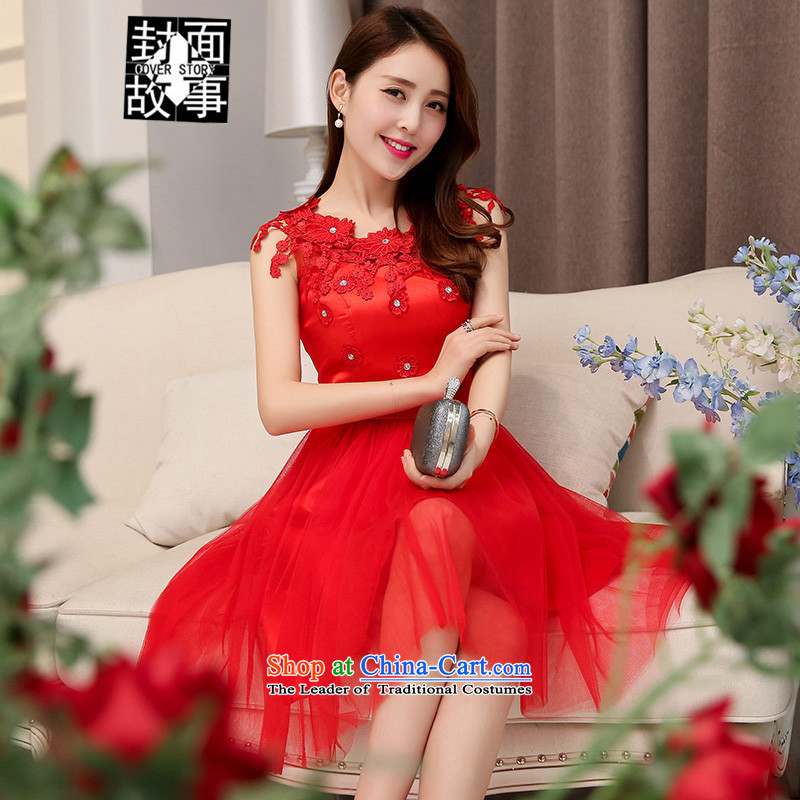 Cover Story 2015 new sleeveless wedding wedding dresses bride bridesmaid at Sau San annual service bows dresses RED M