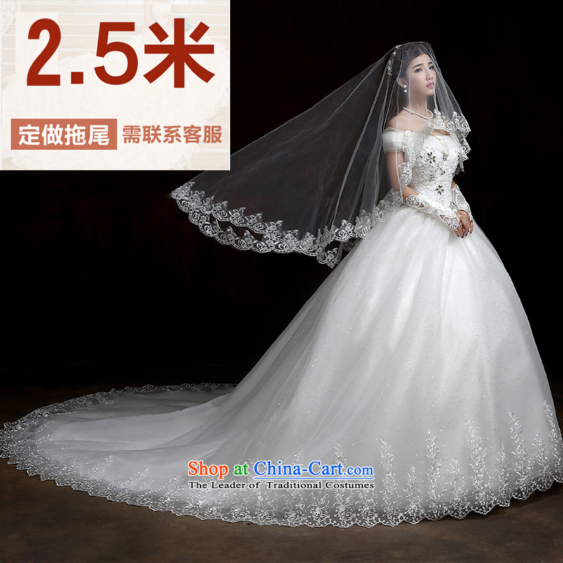 Su Xiang edge wedding dresses 2015 new strap video thin wedding a field to align the shoulder lace tail Korean style flower wedding�2.5 m tail)�XL