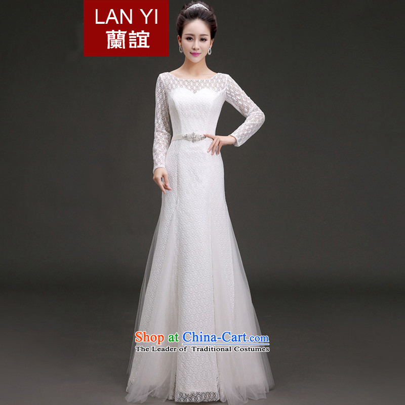 Friends?of the 2015 Winter Olympics, new wedding continental long-sleeved lace bride wedding dresses a field to align the shoulder round-neck collar winter wedding quality assurance?S waistline 1.9 feet code
