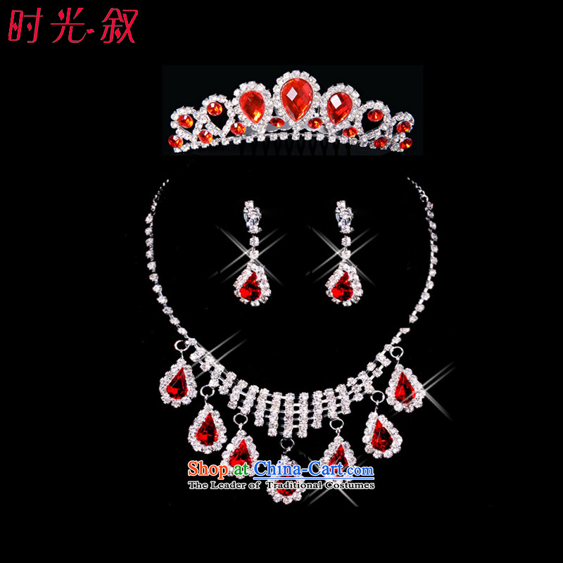 Time Syrian brides jewelry and ornaments of the International Red Crown necklace earrings three Kit Jewelry marry hair decorations wedding accessories accessories Kits