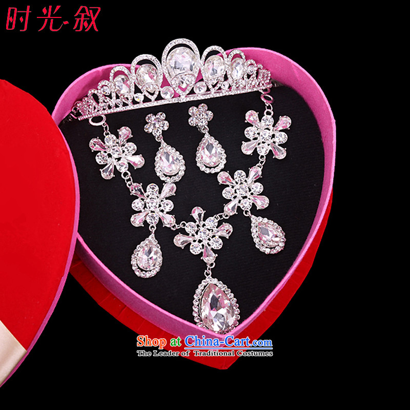 The Syrian brides and the time for the International Korean crown necklace earrings wedding Jewelry marry kit installed jewelry hair accessories link marriage wedding banquet wedding accessories accessories Gift Box 3-piece set