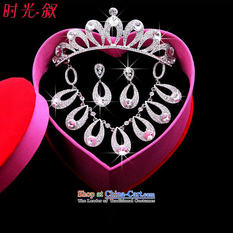 The Syrian brides Korean-hour head ornaments of international crown necklace earrings kit 3 water droplets of Jewelry marry hair decorations wedding accessories accessories Gift Box 3-piece set, Syria has been pressed time shopping on the Internet