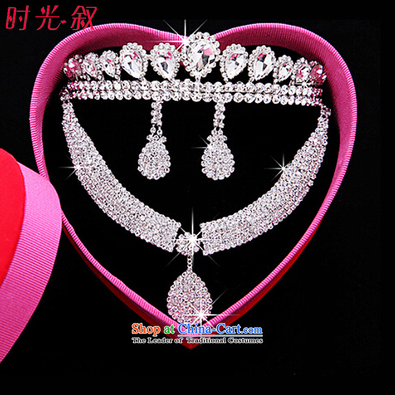 The Syrian brides head-dress moments of great international drilling crown necklace earrings three kit Korean Jewelry marry hair decorations wedding accessories accessories Gift Box 3-piece set