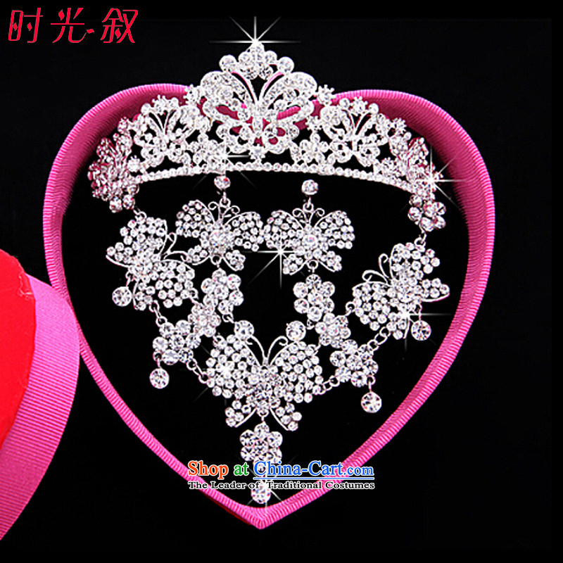Syria Korean brides time head ornaments of international crown necklace earrings kit three butterfly Jewelry marry hair decorations wedding accessories accessories Gift Box 3-piece set