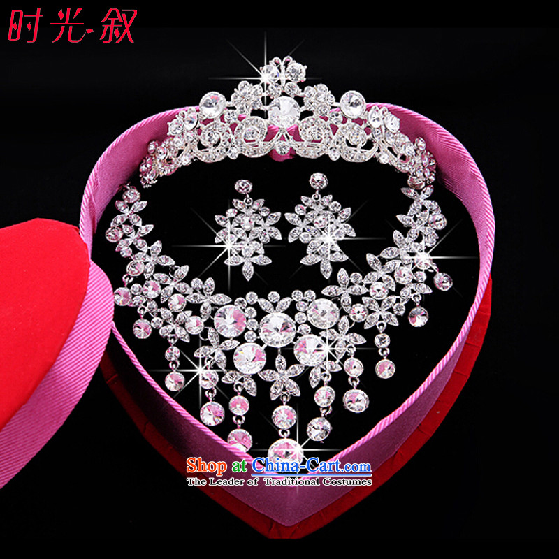 The Syrian brides Korean-hour of large amount of international jewelry crown drill necklace earrings three Kit Jewelry marry hair decorations wedding accessories accessories Gift Box 3-piece set