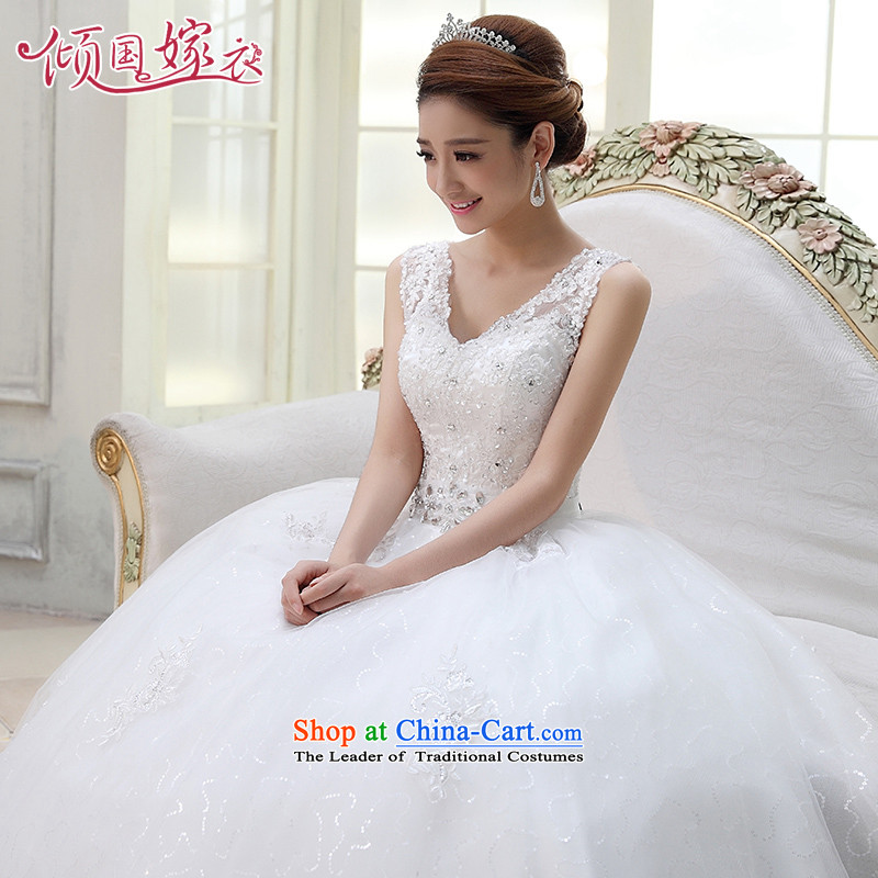Wedding dresses new 2015 Summer shoulders to align the wedding video Thin Dark Sau San V-neck strap for larger winter White聽XL