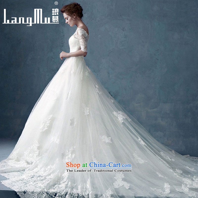 The new 2015 Luang word for long-sleeved to align the shoulder wedding dresses long tail lace Sau San video thin large tail tail 1 M L