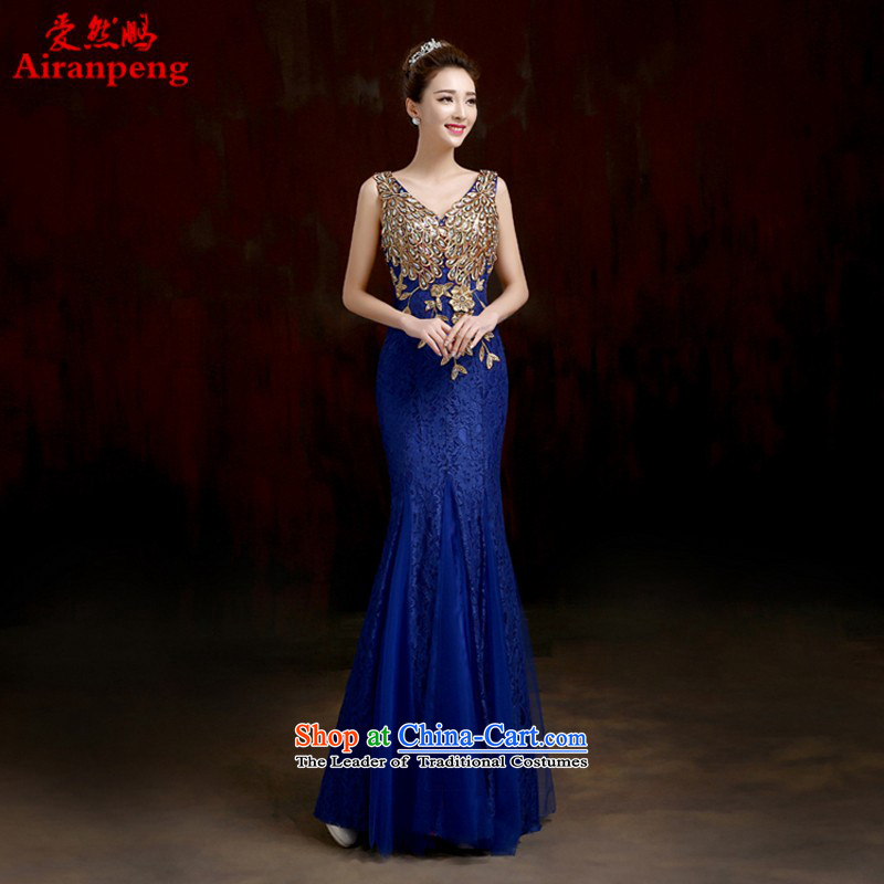 Love So Peng 2015 winter clothing bows bride dress new wedding dresses married long crowsfoot bows to the size of the customer service blue-made no allowance