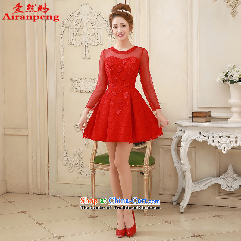 Love So Peng wedding dresses 2015 new marriages red dress skirt bows service, evening long-sleeved gown long-sleeved red winter�XL package returning