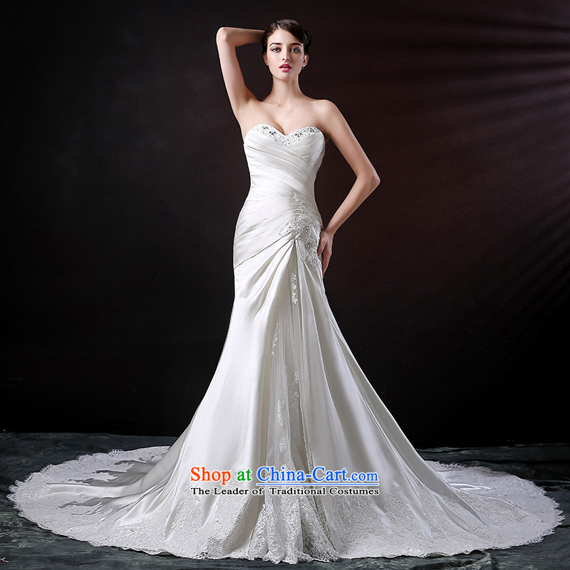 Custom dressilyme wedding by 2015 new anointed chest crowsfoot bride wedding dress satin lace diamond long tail wedding dress燲XS- white out of stock of 25 days Shipment