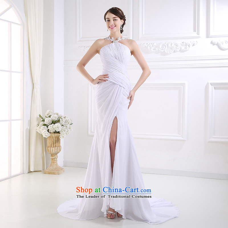 Custom dressilyme wedding by 2015 new hang also led the chiffon straight leg of the forklift truck beach wedding white tie, Sau San bridal dresses ivory - no spot 25 day shipping XXL