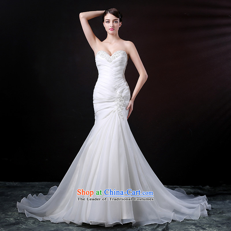 Custom dressilyme wedding by 2015 new heart-shaped anointed chest lead crowsfoot wedding OSCE root of extracting the folds lace diamond bridal dresses ivory - no spot 25 day shipping XXL