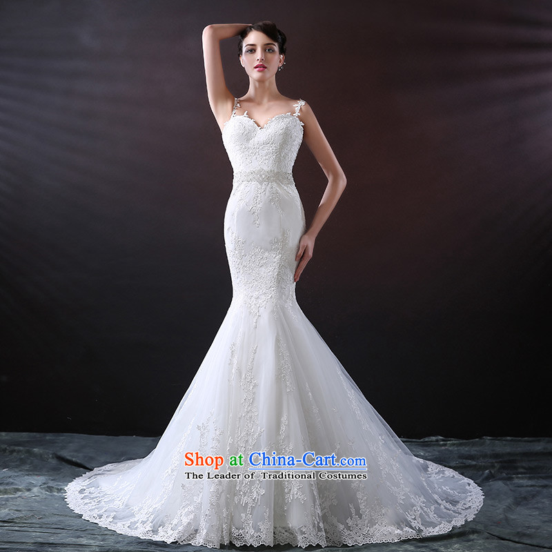 Custom dressilyme wedding by 2015 new strap crowsfoot wedding Soft Net lace diamond belt zipper luxury tail bridal dresses White - No spot 25 day shipping聽XL