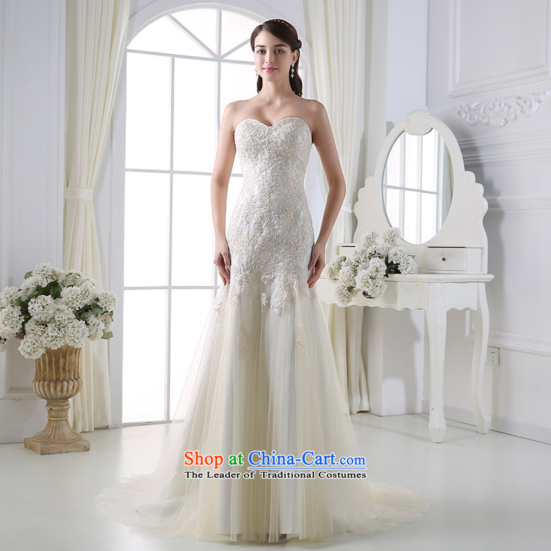 Custom dressilyme wedding by 2015 Spring New anointed chest lace crowsfoot wedding light champagne diamond pleated skirts bridal dresses hundreds of champagne color - no spot 25 day shipping�XXL