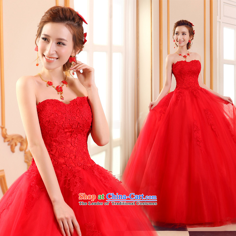 Lily Dance large red wedding dresses new 2015 Winter Korean anointed chest marriages to align the waist straps hunsha high video thin wedding red?XXL