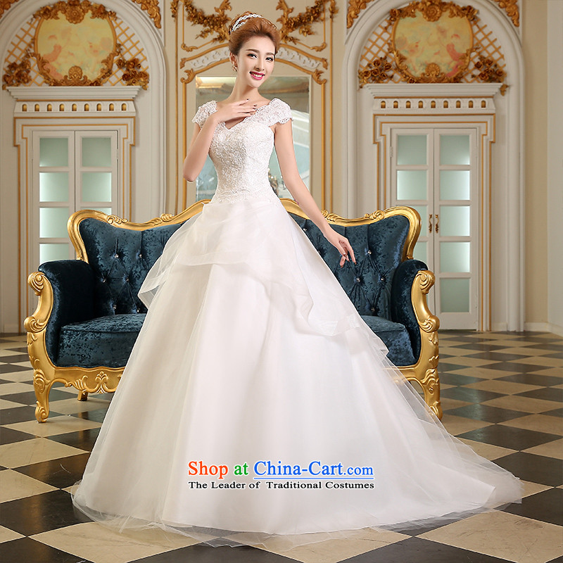 Lily Dance wedding dresses new 2015 winter spring Korean fashion shoulders tail marriages wedding lace video thin princess skirt large tail wedding White?M