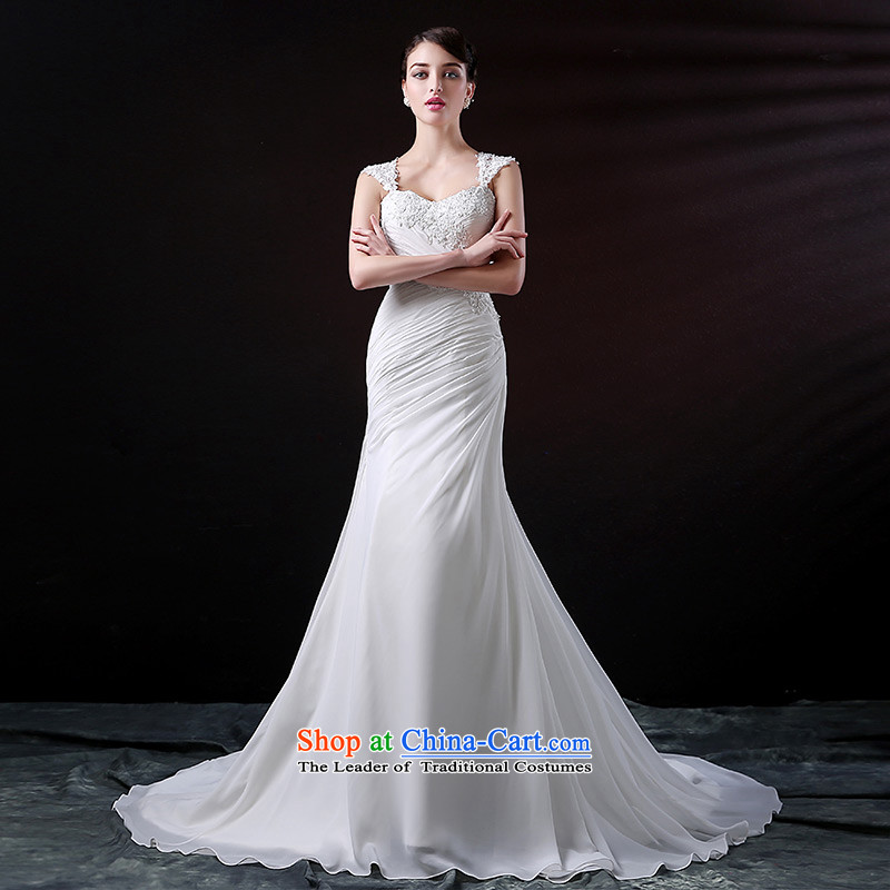 Custom dressilyme wedding by 2015 new gliding chiffon lace crowsfoot wedding lace cuff diamond extraction folds back bridal dresses White - No spot 25 day shipping聽XXXL